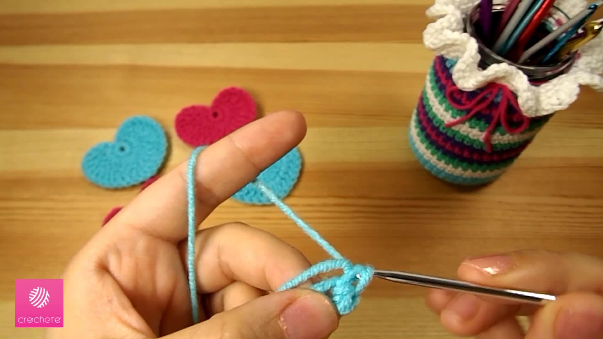 تعليم الكروشيه القلب البسيط Learn how to Crochet Simple Heart - Crochet heart pattern 1