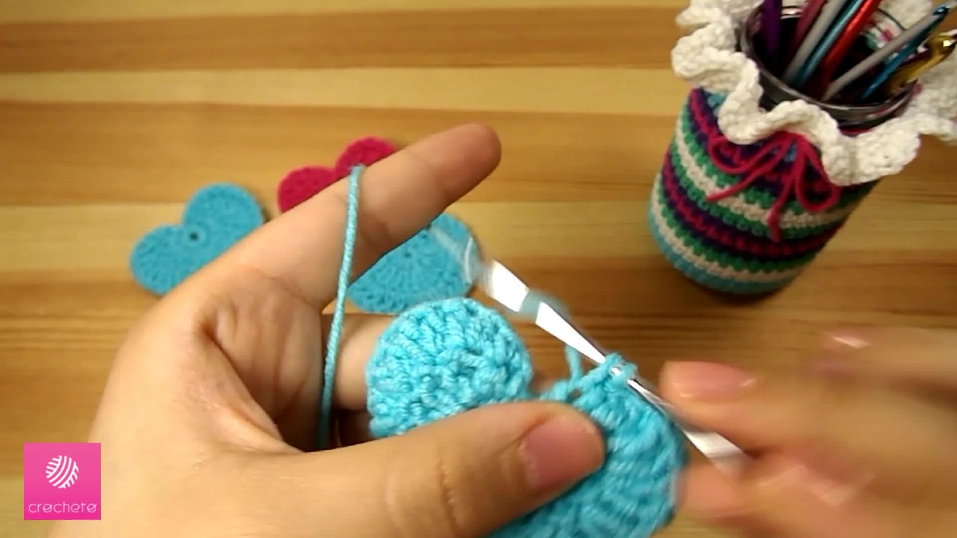 تعليم الكروشيه القلب البسيط Learn how to Crochet Simple Heart - Crochet heart pattern 9